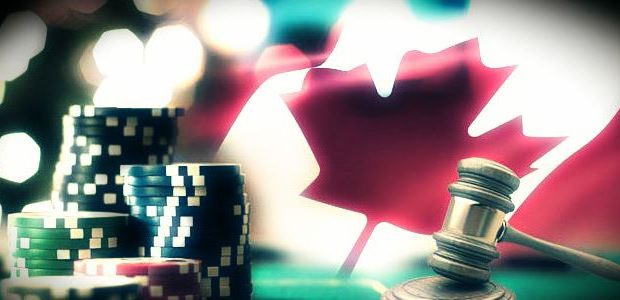 Legal Canada with Canadian flag and Casino chips, judges hammer to denote legal reference
